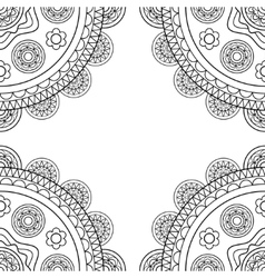 Doodle boho frame in black and white vector