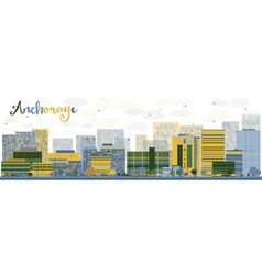 Abstract anchorage alaska skyline vector