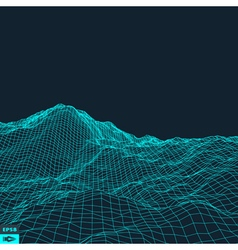 Abstract landscape background 3d grid vector