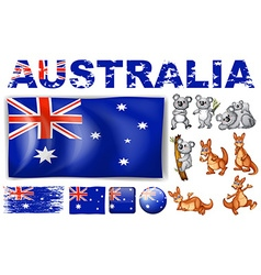 Australia flag in different designs and wild vector
