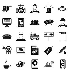 backing icons set simple style vector image