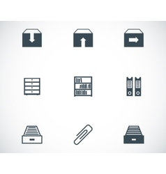 Black archive icons set vector