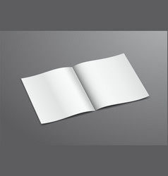 Blank white open brochure magazine isolated on vector