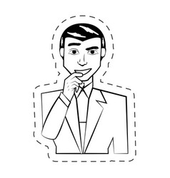 Businessman expression people image cutted line vector
