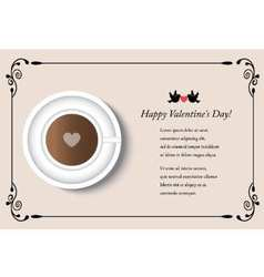 card with cup of coffee on Valentines Day vector image