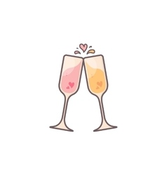 Champagne glasses with hearts inside vector