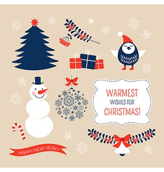 Christmas graphic design elements vector image vector image