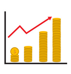 coin stack money graph up flat icon on white vector image