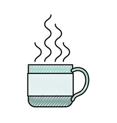 Colored crayon silhouette of hot coffee cup vector