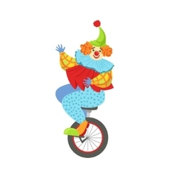 Colorful friendly clown balancing on unicycle in vector