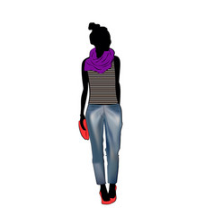 Cute fashion girl wearing trendy jeans trousers vector