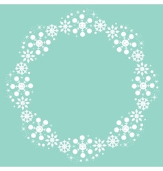 Cute snowflakes christmas winter round frame vector