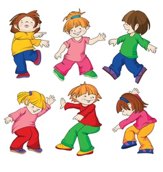 dancing children all details of the image are exec vector image