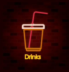 drinks on neon sign on brick wall vector image