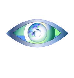 Eye looks in the world eye vision logo vector