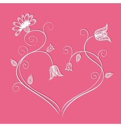 Flower heart with swirls vector image vector image