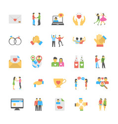 Friends and friendly relationship flat icons set vector