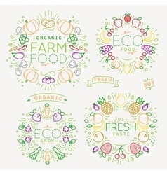 Fruits Vegetables Monograms Color vector image vector image
