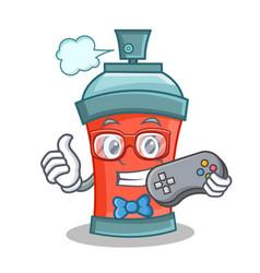 Gamer aerosol spray can character cartoon vector