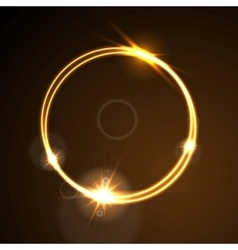 Glow orange neon ring shiny template design vector image