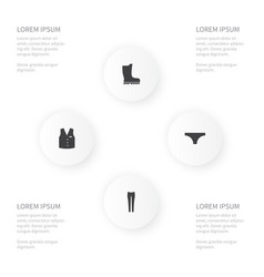 Icon dress set of waistcoat lingerie footwear vector