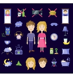 Insomnia icons in flat style vector