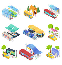 Isometric 3d set city public transport vector