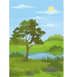Landscape pine tree and lake vector image vector image