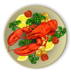 Lobster served with vegetables vector