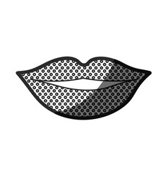 Monochrome silhouette of lips with contour dotted vector