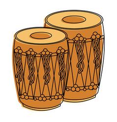 Pair musical instrument punjabi drum dhol indian vector