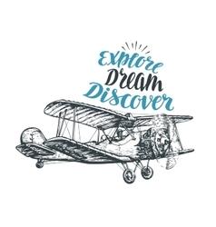 Retro biplane airplane sketch travel vector