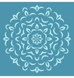 Round flower pattern on blue backround vector