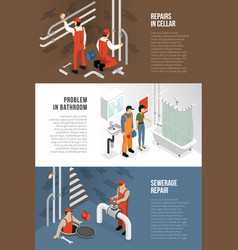 Sanitary technician banners collection vector