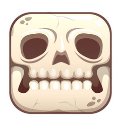 Scary app icon with stylized old cartoon skull vector