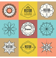 Set line art insignia retro vintage design element vector image vector image