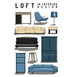 Set of 10 interior items in color loft in vector