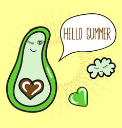 Summer poster with avocado cloud and speech vector
