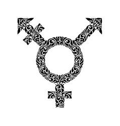 Transgender black ornate symbol vector