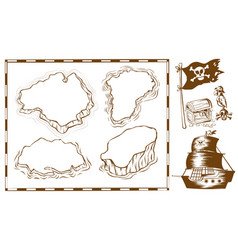 treassure map with ship and chest vector image vector image
