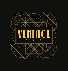 Vintage style logo design art deco element in vector