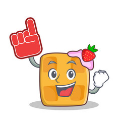 Waffle character cartoon design with foam finger vector