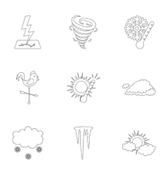 Weather set icons in outline style big collection vector