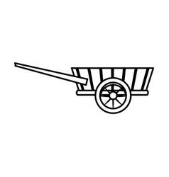 Wheelbarrow wooden trasnport element line vector
