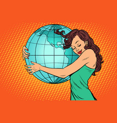 Woman hugging the earth mainland america vector