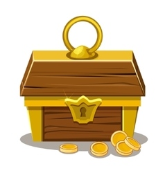 wood Treasure chest and coin vector image vector image