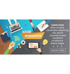 workplace with person working on laptop watching vector image vector image