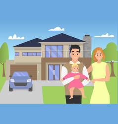 young family in the background of his modern home vector image