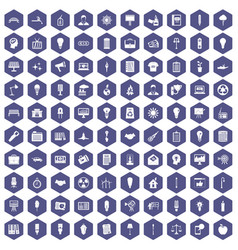 100 lamp icons hexagon purple vector