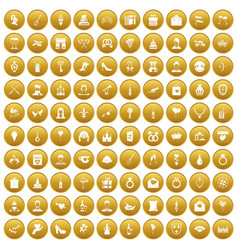100 valentine day icons set gold vector